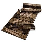 Stufenmatte mit Pinselstrich Muster | Braun | Qualitätsprodukt aus Deutschland | GUT Siegel | kombinierbar mit Läufer | 65x23,5 cm | halbrund | einzelne Matte