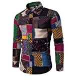 YUNCLOS Mens Funky Printed Linen Shirt Long Sleeve Fancy Floral Tops Unique Pattern