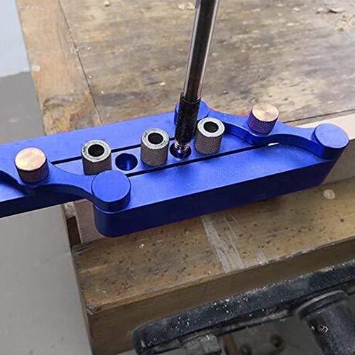 Selbstzentrierende Dübellehre Holzbearbeitungslochlehre Suchhilfe Lochsuchhilfe Bohrlochwerkzeuge DIY Zimmermannswerkzeuge - Blau