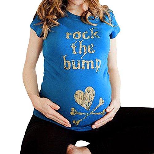 Rock The Bump Drucken Mutterschaft Kurzarm T-Shirt, Basic Mama Umstandsshirt Schwangerschaft Kleidung, Lose Umstandsmode Sommer Sport Pullover Tee Umstandstop Bluse (XL) (Mutterschaft Bump T-shirts)