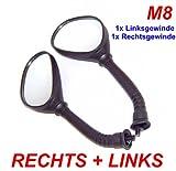 SPIEGEL SET LINKS & RECHTS mit M8 Rechts- & Linksgewinde z.B. für BAOTIAN REX PEUGEOT YIYING KYMCO CHINAROLLER