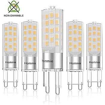 Bombillas LED G9 Cálida de 3.8W Equivale a Lámparas halógenas de 40W, Hommie 3000K G9 Lámparas LED, 360LM, Ángulo de Haz de 360°, AC 220-240V, Pack de 5