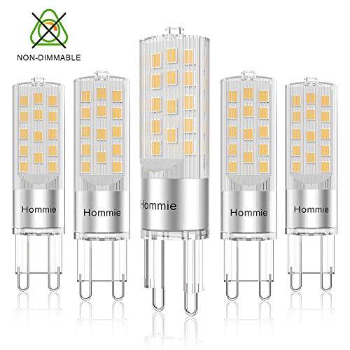 Lampadine LED G9 3.8w Hommei Calda,Risparmio Energetico come Lampade Alogene da 40w, Lampadina LED Luce Nussun Sfarfalli per Cucina, Gabinetto da Bagno 5 pezzi [Classe di efficienza energetica A+]