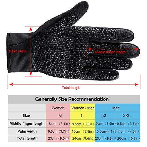 Touchscreen Handschuhe für Herren und Damen Winter Outdoor Winddicht Handschuhe mit Anti-rutsch Silikongel Warm Für Radfahren Skifahren Sports Smartphone/Tablet by Kungber – (XL, Schwarz) - 6