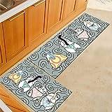 WJSW 2 Stück Rutschfeste Küchenmatte, Rückseite aus Gummi Fußmatte Läufer Teppich Set, Flamingo Design (50 * 80 + 50 * 160cm),two5,50 * 80+50 * 160CM
