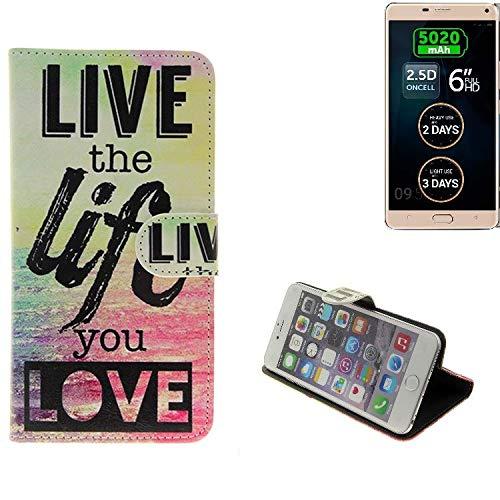 K-S-Trade Für Allview P8 Energy Pro Schutz Hülle 360° Wallet Case ''live Life Love'' Schutzhülle Handy Tasche Handyhülle Etui Smartphone Flip Cover Standfunktion (1x)