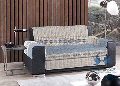 Housse de canapé matelassée à motif maille Poltrona bleu