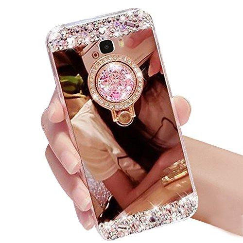 Samsung Galaxy A7 2017 Coque, Vandot 3in1 Gel TPU Etui Souple et Transparente Housse Samsung A7 2017 Etui Protection Bumper Housse Cristal Bling Diamant Case Extrêmement Mince Légère Back Cover Case C Style 2