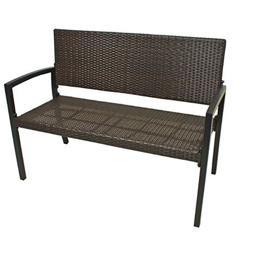 Modern Polyrattan Wicker Garden Bench Seats 2 People Durable Aluminium Frame Garden Rattan