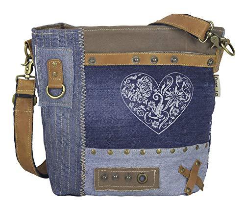 Sunsa Domelo Dirndl Tasche Umhängetasche Oktoberfest Damen Accessories klein Trachtentasche mit Herz Kleine Geschenke für Teenager Mädchen Crossbody bag Vintage Retro Handtasche Blau aus Canvas