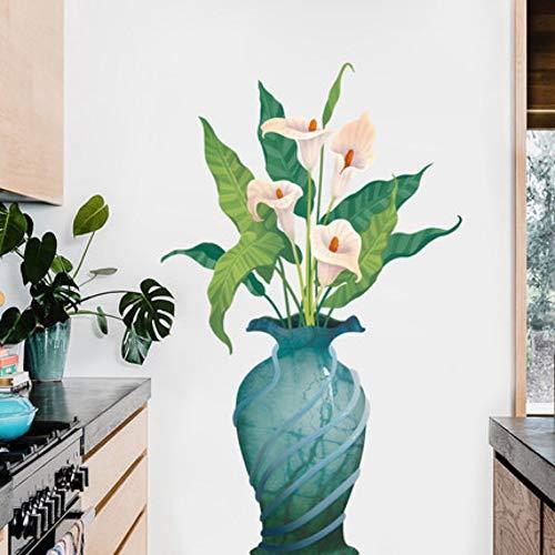 3D Hufeisen Lotus Vase Wohnzimmer Dekoration Vinly Wandaufkleber Blume Schlafzimmer Badezimmer Wohnkultur Poster 115X160 Cm