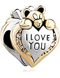 Pugster Heart I Love You Bear Clear Birthstone Crystal Charms Sale Cheap Beads fit Pandora Chamilia Bracelet Gift