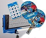 Joola Tischtennisschläger-Set: Team School (2x) + Netz Outdoor + Bälle Training 12er