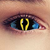 Sclera lentillas de color azul y amarillo para Halloween 22mm dragón ojo de gato lentillas azules sin dioprtías / corregir + gratis caso de lente 'Dragon King'