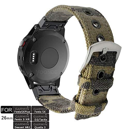 YOOSIDE Fenix 5X Plus QuickFit Armband, 26mm Segeltuch Tarnen Edelstahl Schnellverschluss Ersatzarmband Uhrenarmband für Garmin Fenix 5X/5X Plus/3,Quatix 3,D2 Delta PX,Tactix Charlie,Tarnen -