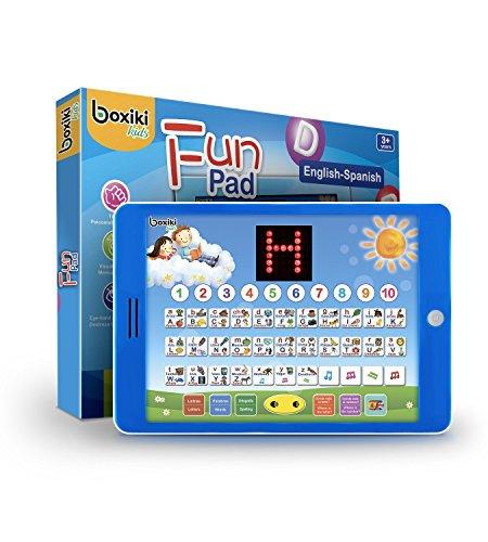 Boxiki Kids Spanisch-Englisch Tablet, Zweisprachiges Lernspielzeug mit LCD Display.