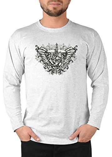 Goths Langarm Herren T-Shirt Gothic Motiv Heart with eyes & wings Langarmshirt Gothik Punk Rock Longshirt für Männer Männershirt Laiberl Leiberl Grau