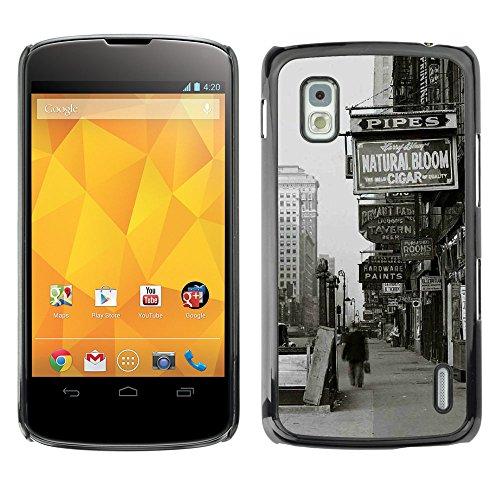 SuperStar // Kühles Bild Hartschalenkoffer PC Schutzhülle Hard Case Protective Cover for LG Nexus 4 E960 / Oldschool New York Straßenschilder / (Star Sign Street)