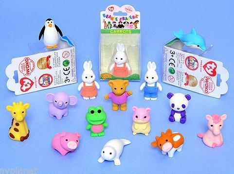 Preisvergleich Produktbild MEGA VALUE 10 x Rare Assorted Official TY Beanie Puzzle Eraserz Iwako Japanese Collectable Eraser by Ty