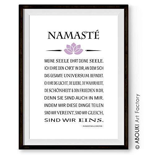 """ABOUKI hochwertiger Kunstdruck - ungerahmt - mit Gandhi Zitat""""Namasté"""""""