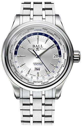 Ball Trainmaster Worldtime Automatic Mens Watch Silver Dial Calendar GM2020D-SCJ-WH