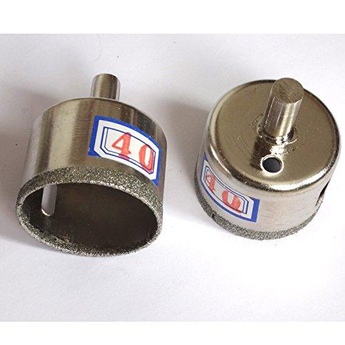 2 pièces 40 mm (1 1/5,1 cm) à pointe diamant Core perceuses Foret scie cloche en verre