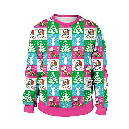 (CHIYEEE Kapuzenpulli Frauen Weihnachten Print Langarm Round Collar Hoodie Unisex Pullover Bluse Sweatshirt Langarmshirts XXL)