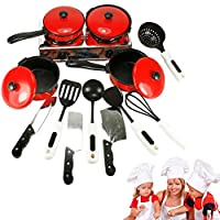 13pcs Kitchen Pretend Toys Child Cooking Toy Kids Play Kitchen Sets Role Play Toys Cooking Food Utensils Pans Pots Dishes Cookware Toy for Kid