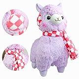 KOSBON 18 '' Giant Púrpura Bufanda Y orejeras Plush Alpaca, 100% Peluches Peluches Animales Juguetes Muñeca, Los mejores regalos de cumpleaños para los niños Niños