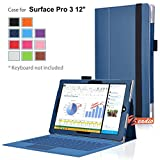 zeadio® Prämie Leder Tasche Hülle Schutzhülle Etui Case Cover mit Ständer für Microsoft Surface PRO 3 (3rd Generation) Windows 8.1 (12 Inch) Tablet - Blau