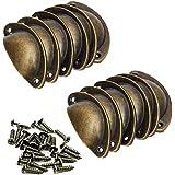 beihuazi® schelpgreep, meubelgrepen, antieke vintage kastgrepen met schroeven, 82 x 35 mm voor kast, laden, kast, apothekersk