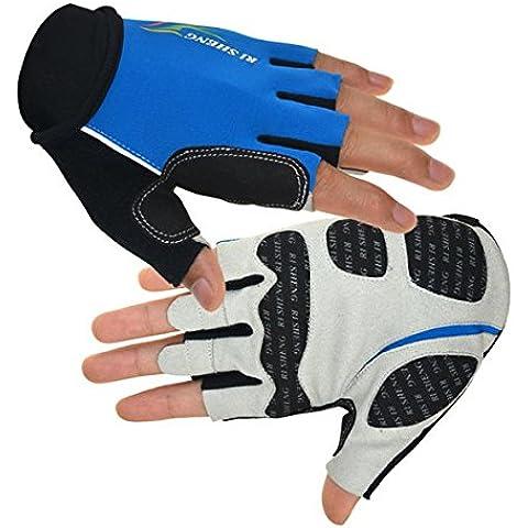 Guantes Ciclismo bicicleta medio dedo guantes moto motocicleta guantes - azul XL