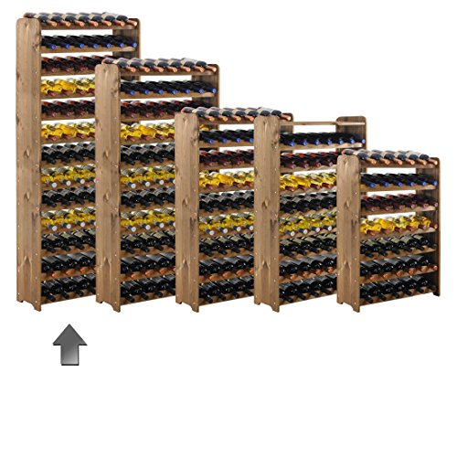 Weinregal / Flaschenregal System 'Optiplus' Modell 5, für 91 Fl., Holzverbundstoff, braun gebeizt