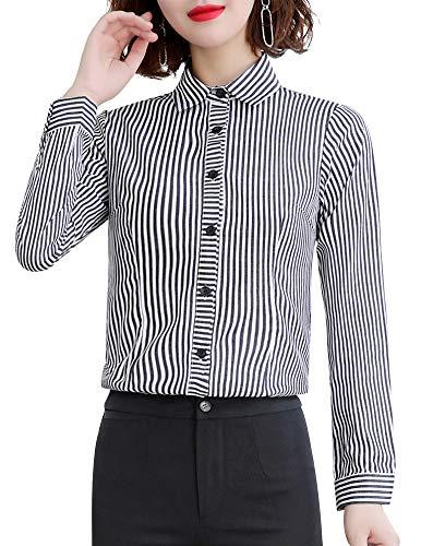 LISUEYNE Damen Langarmshirt mit Knopfleiste, formelle Arbeit Gr. XS, Blackts-1601l - Schwarzes Jersey, Drape-Ärmel Top