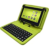 "Electrobeeâ""¢ Micro USB Port Tablet Carry Case Cover plus Inbuilt Keyboard for 7 inch Tablets (Green)"
