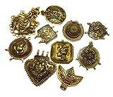 Goelx Pendants Oxidized Antique Golden German Silver for Jewelry Making Assorted 10 Best Unique Designs Combo
