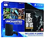 PS4 'Slim' 1 TB Console with 'TLOU and Uncharted Charted Collection' pasted outside box.