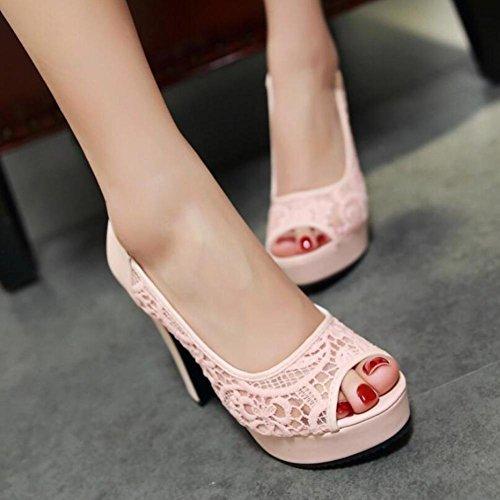 Lemon&T Women Vintage Style Summer PU dentelle creux Element Peep-toe Slip Sole en caoutchouc résistant 12CM High Heels Sandales pink