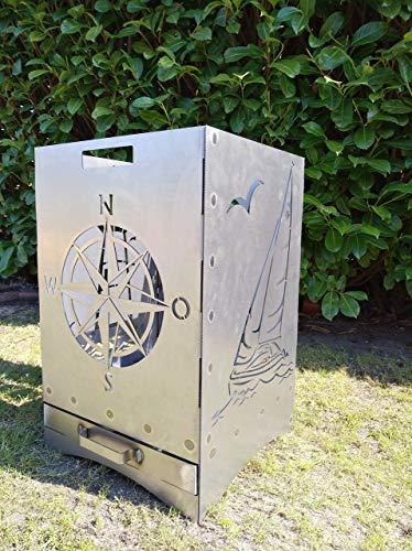 Gartendeko Fockbek Feuerkorb inkl. Aschefach und Zwischenboden sehr stabil Maße ca. 40x40x60 cm (Motiv Leuchtturm,Segelboot,Windrose,Anker)