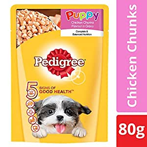 Pedigree Wet Dog Food, Chicken Chunks in Gravy for Puppy – 80g