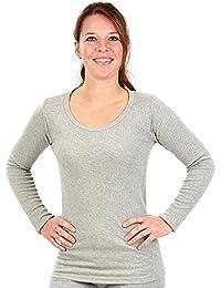 Mujer Camisa Con Forro Polar Interior Térmica manga larga camiseta, gris, medium