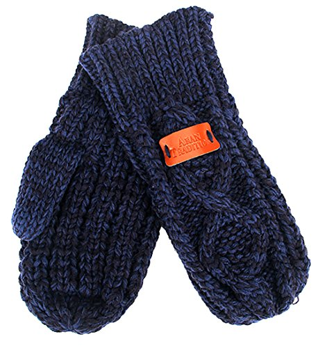 Aran Traditions Navy Blue Diamond Cable Knit Mitts - Cable Knit Mitt