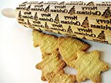 Embossing rolling pin CHRISTMAS TREE . Laser engraved dough roller with CHRISTMAS TREE pattern