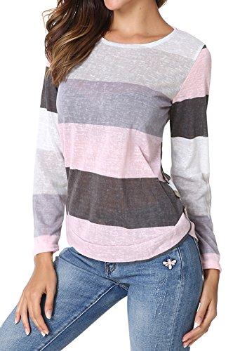 Yidarton Damen Tops Sommer Buntes Gestreiftes Loose Kurzarm V-Ausschnitt Shirt Hemd Bluse T-Shirt (M/ EU 38-40, Langarm-Rosa)