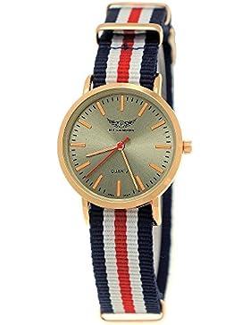 Hübsche NY London Slim Damen-Uhr Mädchen-Uhr Analog Quarz Textil Nylon Armband-Uhr Bunt Rot Blau Weiß Rose-Gold...