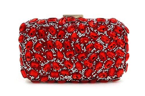 WYB Diamant-Handtasche / einseitige Bohren heißen Abendtasche / Abendtasche / Frau Clutch / Umhängetasche Red