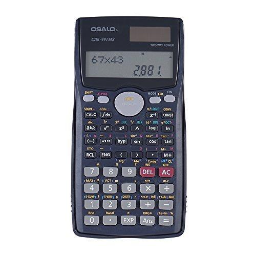 KKmoon Wissenschaftlicher Taschenrechner Zähler 401 Funktionen Matrix Punkt-Vektorgleichung berechnen Solar- und Batteriebetrieb Dual Powered 2 Line Display Business Office Middle High School Student SAT/AP Test Calculate