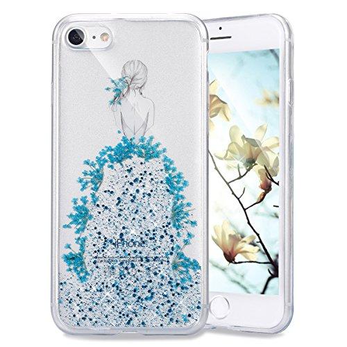 Coque pour iPhone 7 Plus/8 Plus,iPhone 7 Plus Or Rose Coque en Silicone Clair Ultra-Mince Etui Housse avec Bling Diamant,iPhone 7 Plus Placage Coque Bling Bling Glitter Sparkle Diamond Silicone Case R Retour Fille-bleu