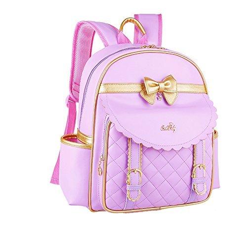 Kuanlise Cute Bowknot Leather Bookbag Girls Backpack For Elementary School Purple