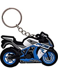 GCT KTM RC8 Logo Synthetic / Rubber Bike Keychain / Keyring / Key Ring / Key Chain (Sky Blue/White/Black)